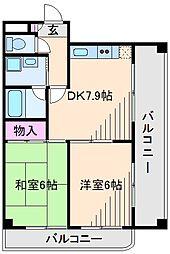 神奈川県横浜市港北区綱島東5丁目の賃貸マンションの間取り