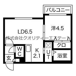 仮)平岸3条6丁目MS B棟 3階1LDKの間取り