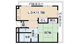 江川コーポ[305号室]の間取り