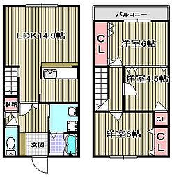 [タウンハウス] 大阪府泉佐野市泉ケ丘3丁目 の賃貸【/】の間取り