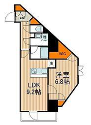 東武伊勢崎線 東向島駅 徒歩2分の賃貸マンション 9階1LDKの間取り