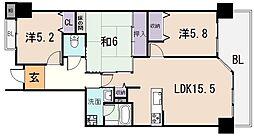 大阪府八尾市桜ヶ丘3丁目の賃貸マンションの間取り