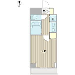 プロシード日本橋本町 6階ワンルームの間取り