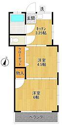 矢嶋荘第二[201号室]の間取り