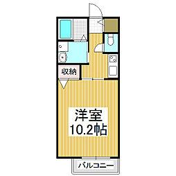 コスモハイムII 2階1Kの間取り