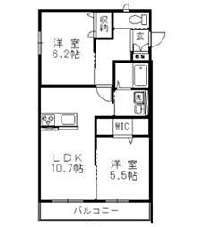 JR山陽本線 高島駅 徒歩17分の賃貸アパート 2階2LDKの間取り