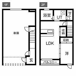 東武宇都宮線 西川田駅 徒歩15分の賃貸テラスハウス 1LDKの間取り