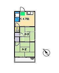 朝倉ビューハイツ[2階]の間取り
