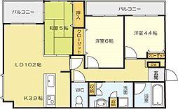 福岡県北九州市小倉北区城野団地の賃貸マンションの間取り