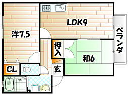 福岡県北九州市小倉北区中井5丁目の賃貸アパートの間取り