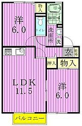 セジュール御堂の上[D101号室]の間取り