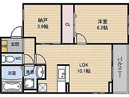 大阪府大阪市福島区吉野1丁目の賃貸アパートの間取り