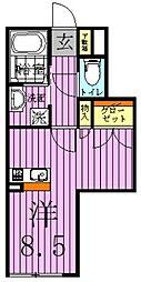 東京都足立区西新井1丁目の賃貸アパートの間取り