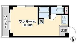 メルシー神宮前EAST 3階ワンルームの間取り