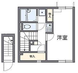 西武新宿線 狭山市駅 バス8分 根岸中央下車 徒歩7分の賃貸アパート 2階1Kの間取り