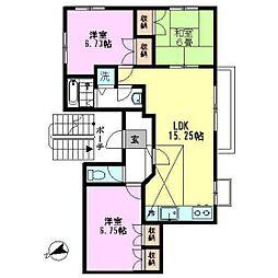 外人ハウス(北棟)[2F号室]の間取り