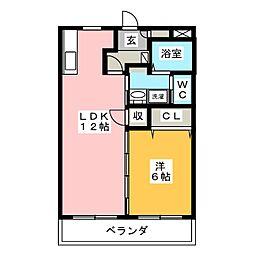 シャトー豊田[1階]の間取り