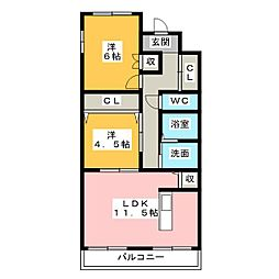 ルミエール勝川[1階]の間取り