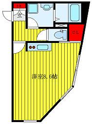 LEGALAND SENGOKU Cross 4階ワンルームの間取り