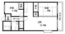 プレヤデス東岸和田[305号室]の間取り