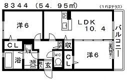 グロリアハイツはびきの A棟[105号室号室]の間取り