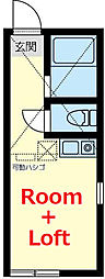 JR横浜線 大口駅 徒歩9分の賃貸アパート 2階ワンルームの間取り