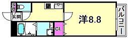 ル・ルゥ甲子園口 1階1Kの間取り