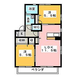 ウィステリア天白 B棟[2階]の間取り