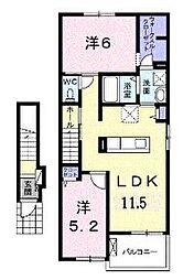 JR福塩線 神辺駅 徒歩6分の賃貸アパート 2階2LDKの間取り