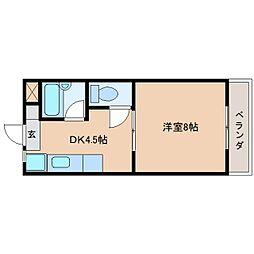 静岡県静岡市清水区草薙の賃貸マンションの間取り
