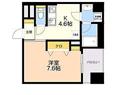 D−room gracious平尾 6階1DKの間取り