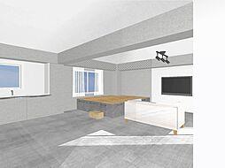 寝室は下部が収納となった空間を有効活用したプライベート・スペース。梁の部分にフェンス収納を設置。(完成イメージCG)