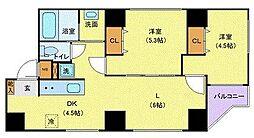 JR山手線 巣鴨駅 徒歩5分の賃貸マンション 6階2LDKの間取り