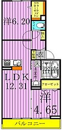 サンモール 2階2LDKの間取り