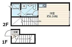 residence kai C-108 2階ワンルームの間取り