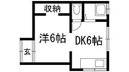 兵庫県川西市鴬の森町の賃貸アパートの間取り