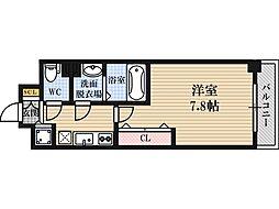 Luxe東三国4 7階1Kの間取り