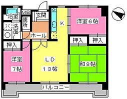 サクセス諸岡[3階]の間取り