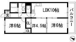 兵庫県川西市東畦野1丁目の賃貸アパートの間取り