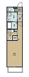 西武新宿線 花小金井駅 徒歩15分の賃貸アパート 2階ワンルームの間取り