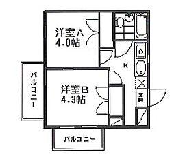 リバティ多摩川 bt[104kk号室]の間取り