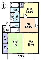 千葉県八千代市ゆりのき台6丁目の賃貸アパートの間取り