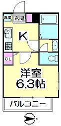 ウィングス西竹の塚[206号室]の間取り