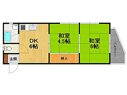 Uハイツ甲子園[2階]の間取り