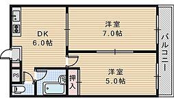 ジョイテル西田辺1[5階]の間取り