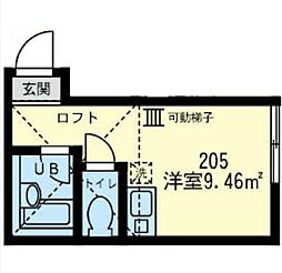 神奈川県横浜市金沢区町屋町の賃貸アパートの間取り
