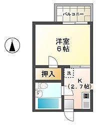 愛知県稲沢市正明寺2丁目の賃貸アパートの間取り