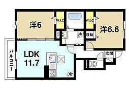 JR片町線(学研都市線) 木津駅 バス8分 城山台5丁目バス停下車 徒歩3分の賃貸アパート 1階2LDKの間取り