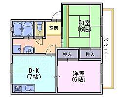 京都府向日市物集女町御所海道の賃貸アパートの間取り