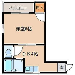 ニューハイツ桜III 4階1DKの間取り